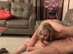 Pussy licking dude gets to fuck the beautiful blonde girl
