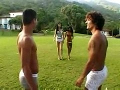 Outdoor Foursome With A Skilful T-girl