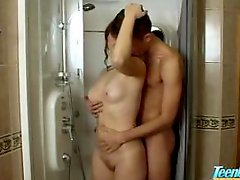 Teenage Couple Gets down and dirty In Shower