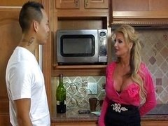 Breasty blonde deep ride in the kitchen