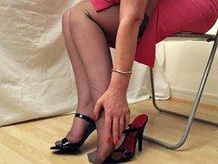 black heels and besides rht stockings