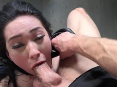 Brunette girl's throat gets penetrated by long pecker of fucker