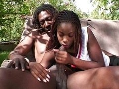 Aroused ebony woman hungry for semen