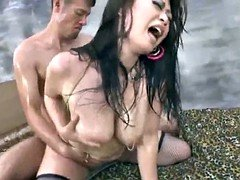 Japanese AV Adult model with huge oiled boobs is fucked and scream