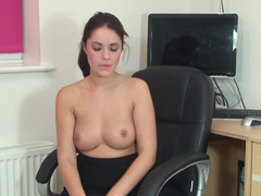 A skinny dame with a nice rack is using a large dong on her pussy