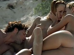 Sex on the Beach with 2 Young Blondes. L & C