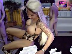 German xxx movie star Sexy Cora in a group-fuck with 40 Starikova fragment 2
