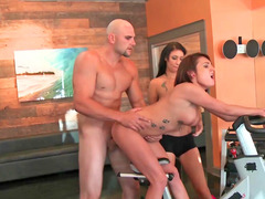 Super hot workout session with a pair of nasty sluts
