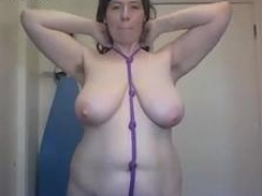 Ugly curvy shaggy cougar with big tits ties self