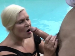 Granny blows large dildo and gets banged in doggy