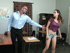 She asks her professor to help and additionally he gladly obliges