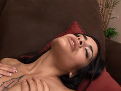 Handsome guy gives brunette coquette everything that she needs