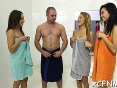 Lucky guy gets a three unexpected and phallus loving audience