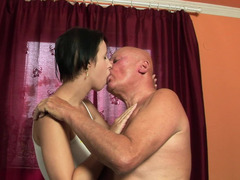 Shaved grown-up dude is pushing his cock into a fit 18-19 year old that loves giving head