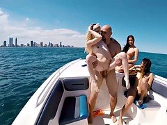 Slutty bikini chicks got fucked on a boat
