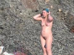 Blonde with huge breasts fucked outdoor