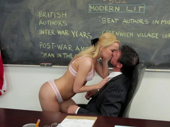 Delicious blonde slut is opening up her mouth for some ball batter