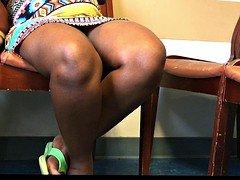 Pregnant African French Dame Voyeur Upskirt Sitting
