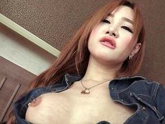 Big-breasted Post Op T-girl Glass Toy play