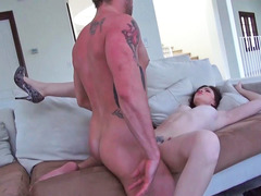 Top heavy brunette is having anal sex with her guy