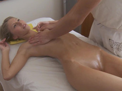 Tall Russian adult video star excites masseur with the look of flawless body