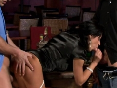 Clothed & excited women getting a huge rod treatment