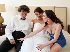 A couple of ladies are sharing a guy in a hot and kinky three-way
