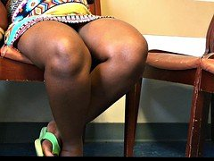 Pregnant African French Dame Voyeur Upskirt Sitting