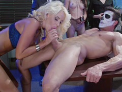 Hot kittens are getting fucked in the office on the desk