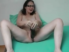 Sabine playing with her sizeable vibrator