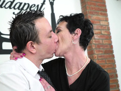 Youngster has fun with brunette granny and fills her mouth with cum