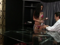 A brunette removes her bikini and then she gets her pussy licked