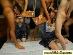 A pair of Japanese slaves gets tied up and additionally throats fucked
