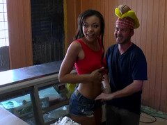 Fast food cutie and a horny guy fuck behind the counter