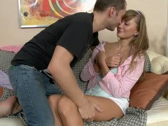 A sexy schoolgirl does backdoor as a substitute to doing homework with her man