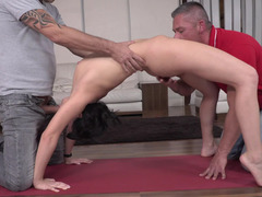 Yoga slut gets spit roasted and taken up the ass