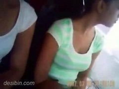 Good-looking tourist chicks getting groped in Volvo bus