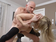 Fragile cutie wants to be manhandled by a bald bully