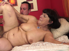 A fat granny is getting her old cunt penetrated in the hotel room
