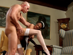 A maid is on the table and she is receiving a large hard dick on desk