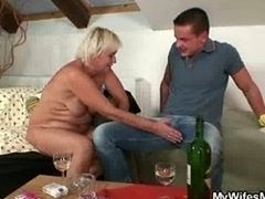 He finds his GF's mom nude and besides has an intercourse her