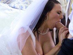 Sexy dark haired bride fucks her husband Danny with pleasure