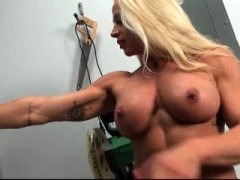 Blonde dame stripping and furthermore showing her muscle