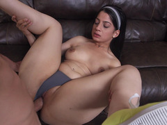 Hot maid sits on a cum cannon after she is done cleaning the room