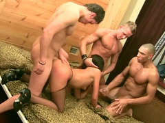 Big booty whore in sexy lingerie gets nailed by three guys