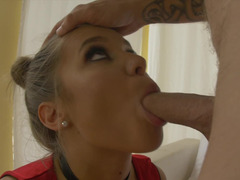 Deepthroat fellatio and vaginal drilling ends with facial cumshot