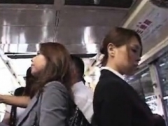 Sexy Japanese broad getting her ass touched in the public bus