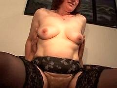 Hairy Old Redhead in Glasses and plus Stockings Bangs