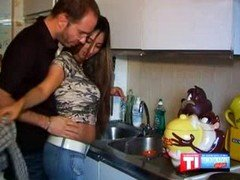 Bigtitted hot latina couple getting down and dirty in the kitchen