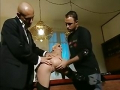 Julie Silver pleases her excited masters with double anal.